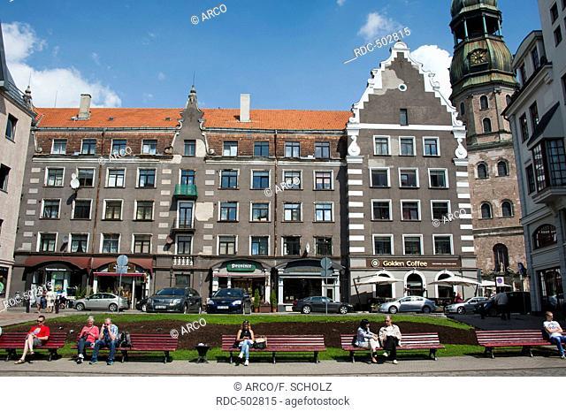 Houses, Kungu Street, near Town hall square, Old town, Riga, Latvia, Baltic states, Europe