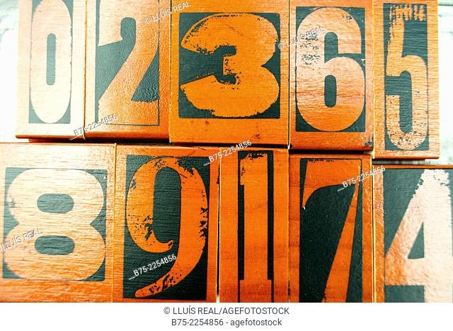 Numbers of a rubber stamps originating from vintage british letterpress blocks, 0, 2, 3, 6, 5, 8, 9, 1, 7, 4