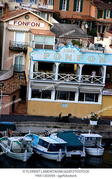 France, Provence Alpes Cote d'Azur province, Bouches du Rhone, Marseille - Boats in the port of 'Le Vallon des Auffes' in Endoume