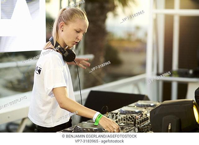 DJ Merow at music festival Starbeach on 13. August 2018 in Chersonissos, Crete, Greece