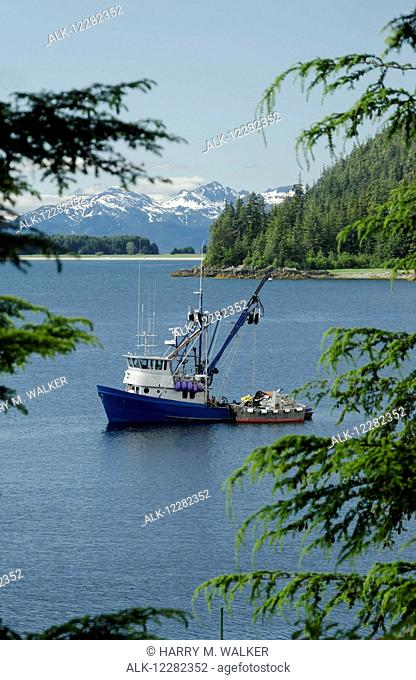 Commercial fishing boat anchored in Amalga Bay north of Juneau, Southeast Alaska