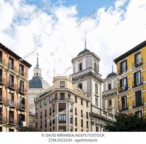 Iglesia de San Isidro and typical buildings. Madrid, Spain
