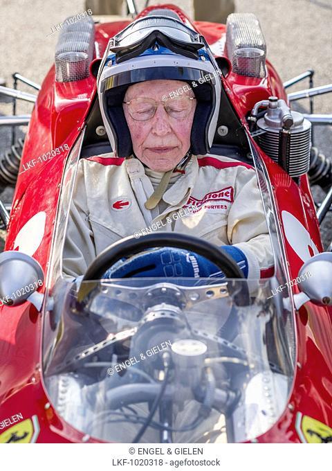 John Surtees in a 1964 Ferrari 158, Goodwood Revival 2014, Racing Sport, Classic Car, Goodwood, Chichester, Sussex, England, Gre
