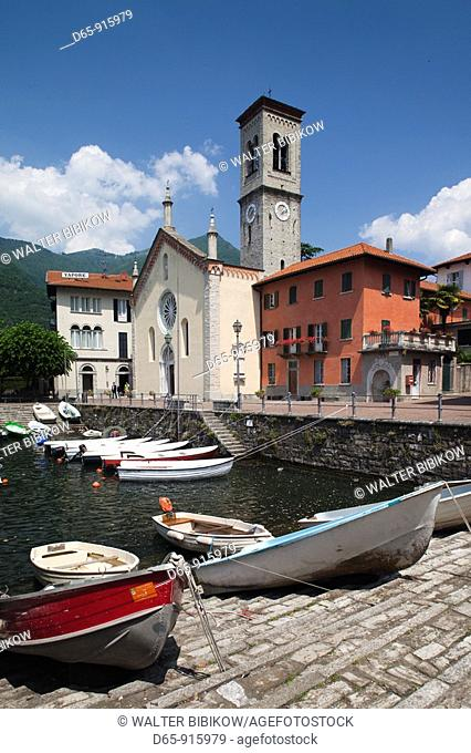 Italy, Lombardy, Lakes Region, Lake Como, Torno, town view from harbor