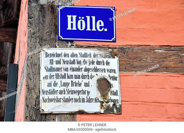Germany, Saxony-Anhalt, Quedlinburg, hell, historical, city centre