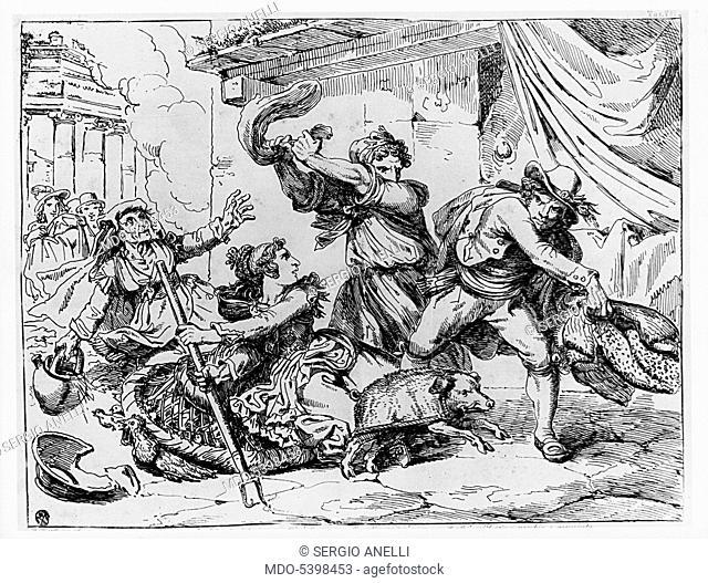 The effects of a bad joke (Gli effetti di un brutto scherzo), by Bartolomeo Pinelli, 19th Century, etching