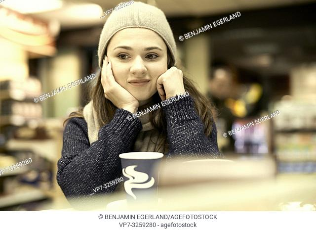 woman at coffee shop, in Munich, Germany