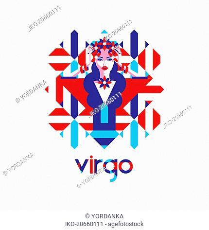 Beautiful woman in geometric pattern as virgo zodiac symbol