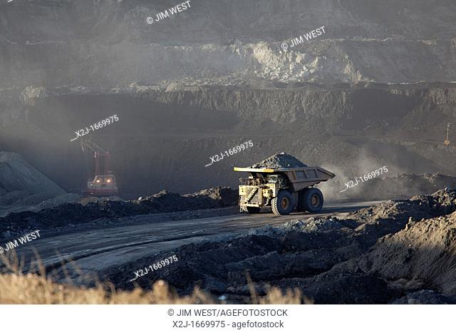 Gillette, Wyoming - A surface coal mine in Wyoming's Powder River Basin  The Powder River Basin is the largest coal mining region in the United States