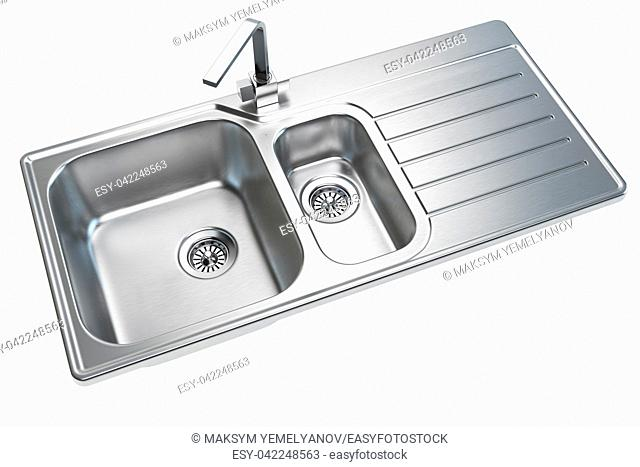 Kitchen sink isolated on white background. 3d illustration