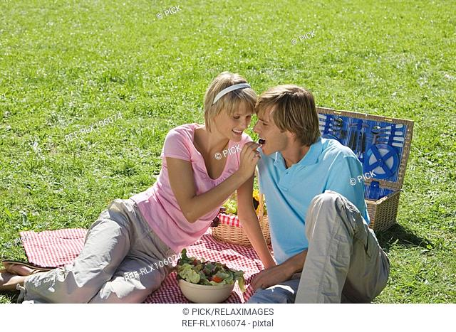 Young couple sitting on Picnic blanket woman feeding man with grapes