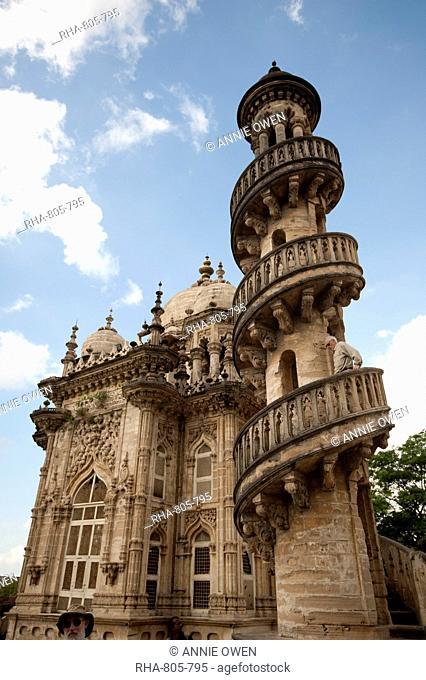 One of the four minarets at the Jama Masjid (mosque) in the Mahabat Maqbara complex, built in 1892, Junagadh, Gujarat, India, Asia