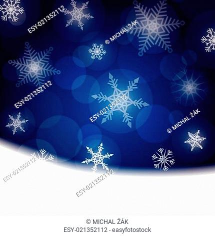 Christmas background - blue with white snowflakes