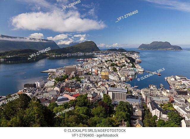 Alesund, Vestlandet, Norway. View from above of Alesund, one of most important port of Norway