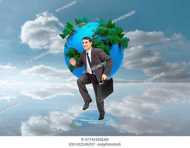 Composite image of cheerful attractive businessman in a hurry