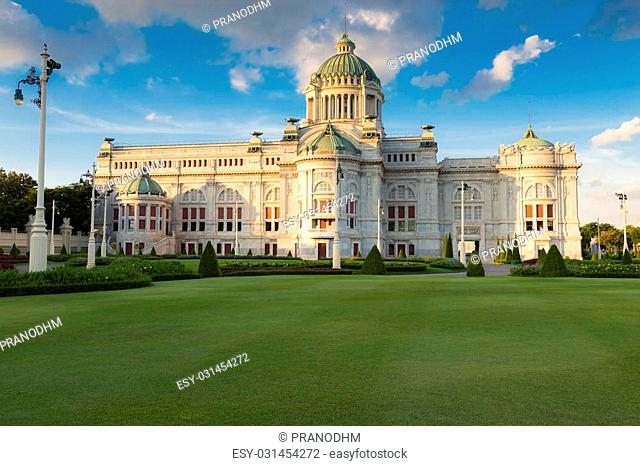 The Ananta Samakhom Throne Hall Thailand white house in Royal Dusit Palace, Bangkok Thailand Landmark with blue sky