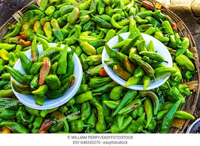 Colorful Mexican Green Jalapeno Chile Pepper Oaxaca Juarez Mexico