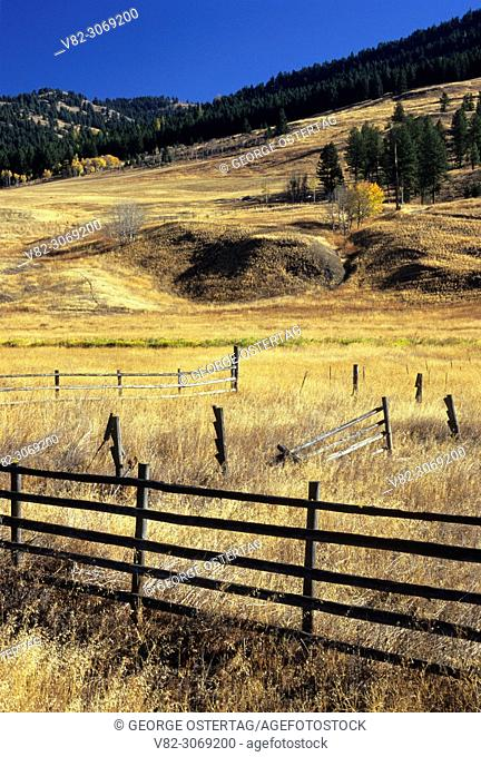 Ranchland in autumn outside Chesaw, Okanogan County, Washington