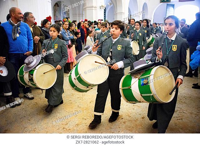 Romeria processionin Rocio in Huelva and Seville, Andalusia, Spain. El Rocio church, Hermitage of the Virgin of El Rocio, Andalucia, Spain, Europe