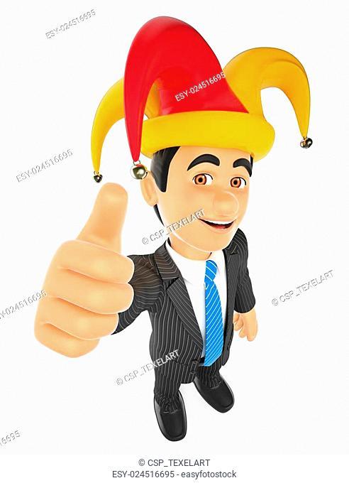 3D Businessman with a april fools hat