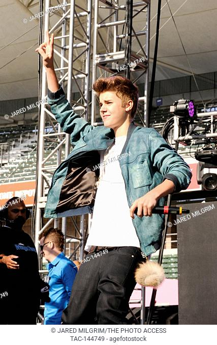 Justin Bieber on stage as guest host at KIIS FM's Wango Tango 2012 at the Home Depot Center on May 12, 2012 in Los Angeles, California