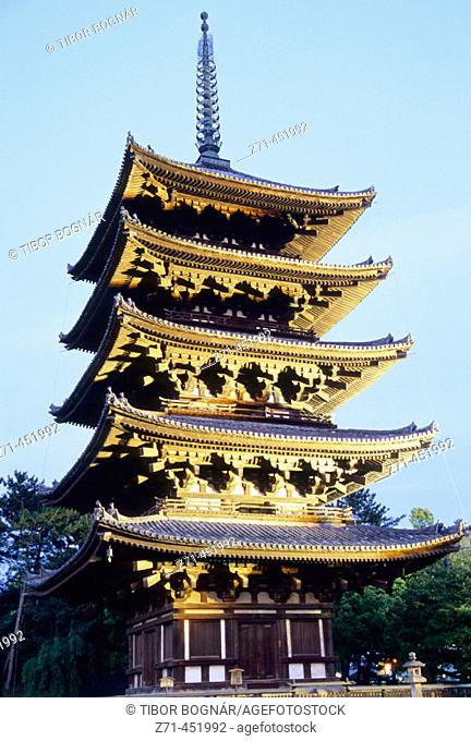 Goju-no-to (Five-story Pagoda), Horyu-ji temple. Nara, Japan