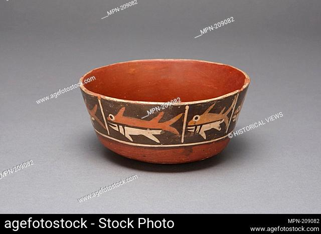 Bowl with Repeating Depiction of a Fish or Shark - 180 B.C./A.D. 500 - Nazca South coast, Peru - Artist: Nazca, Origin: Peru, Date: 180 BC–500 AD