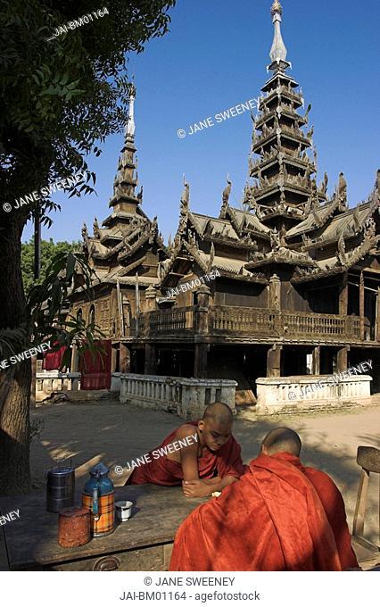 Myanmar, Bagan, Ancient wooden monastery of Nat Taung Kyaung May-taung taik