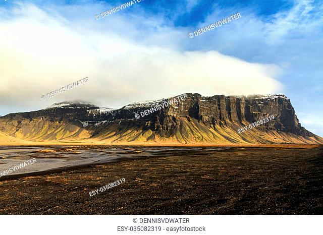 View on the mountain ridge Lomagnupur in the volcanic landscape of Iceland