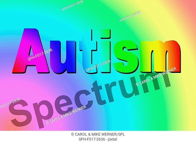 Autism spectrum, conceptual illustration. Autism spectrum is used to describe several neurodevelopmental disorders that involve deficits in social communication...