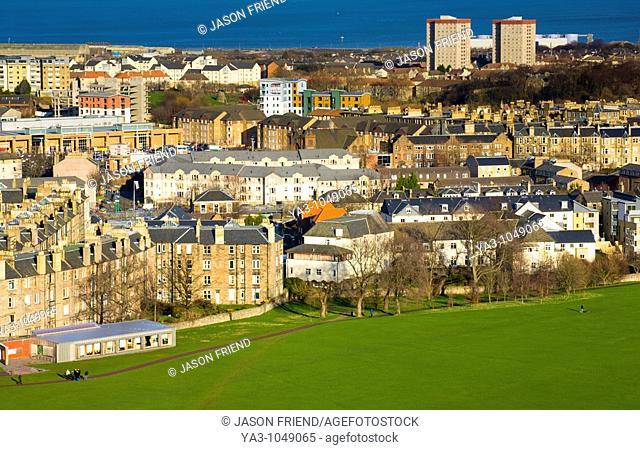 Scotland, Edinburgh, Holyrood Park  People partaking in recreational activities at the Holyrood Park