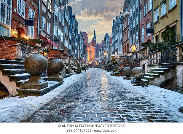 Mariacka street in Gdansk, beautiful winter view with no people