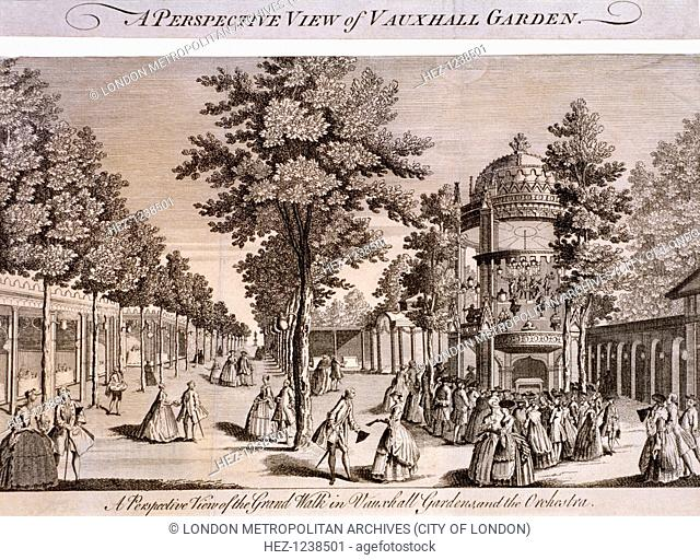 View of the Grand Walk in Vauxhall Gardens, Lambeth, London, c1750; showing elegantly dressed figures strolling throughout and also the orchestra to the right