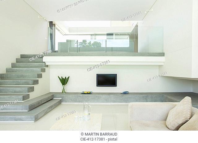 Modern living room with balcony