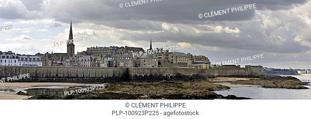 View over the walled city Saint-Malo, Brittany, France