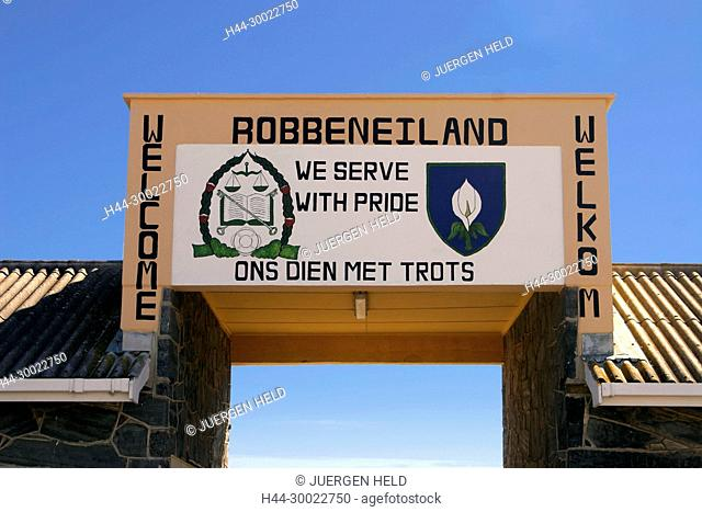 south africa cape town, Robben Island, Entrance gate, prison island of Neldson Mandela during apartheid
