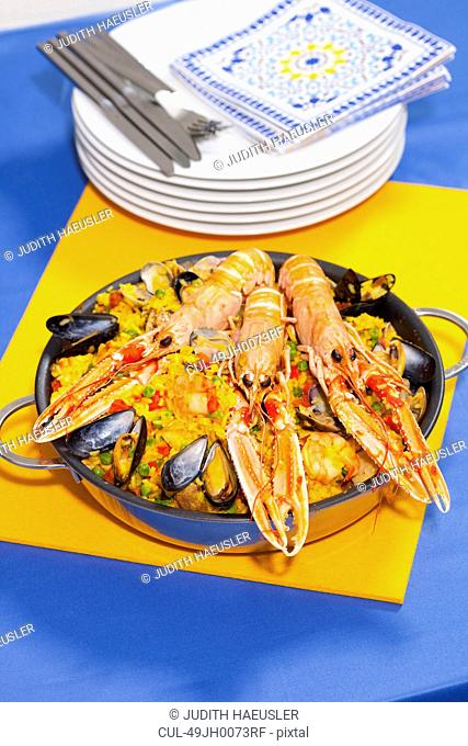 Pan of craw fish paella