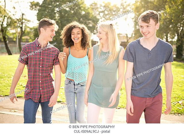 Four young adult friends strolling in park
