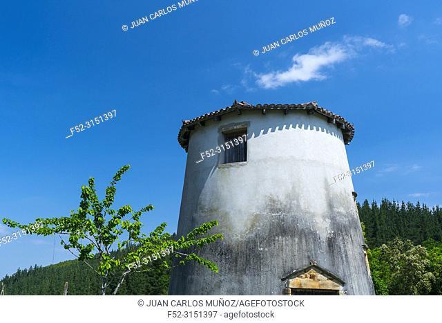 Larringan windmill, Atxarte canyon, Mendiola neighborhood, Urkiola Natural Park, Atxarte valley, Bizkaia, Basque Country, Spain, Europe