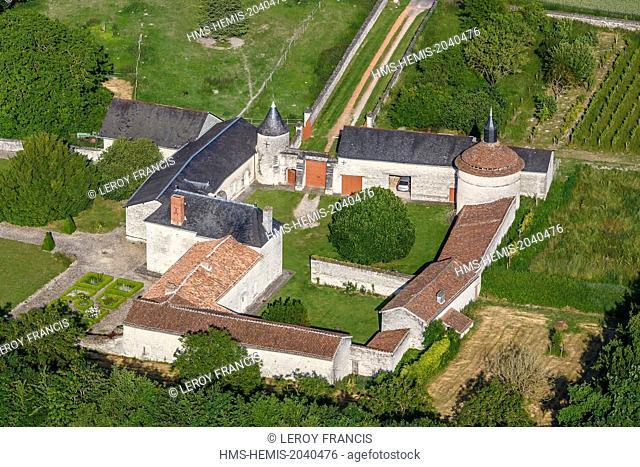 France, Vienne, Princay, la Haute Porte castle (aerial view)
