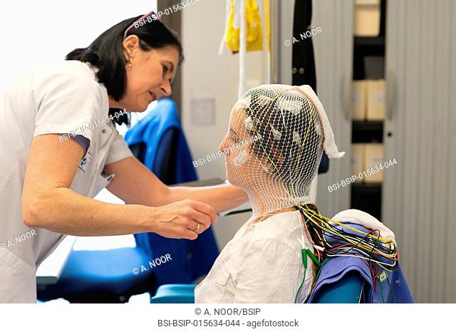 Reportage in the epileptology unit in Nice Hospital, France. Long-term EEG (3 days) for a check-up of partial epilepsy