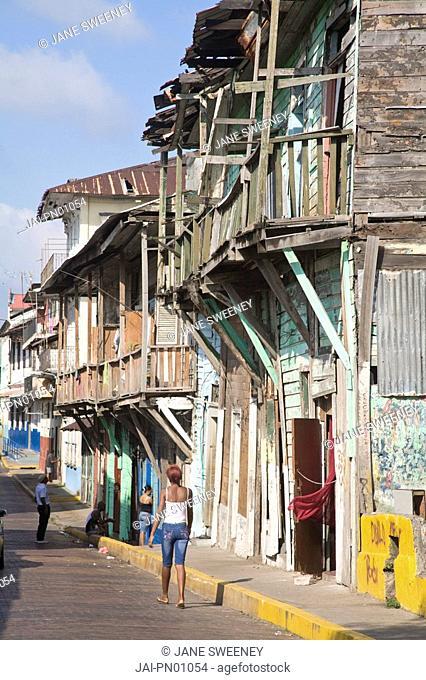 Panama, Panama City, Street in Casco Viejo San Felipe