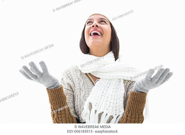 Pretty brunette in warm clothes