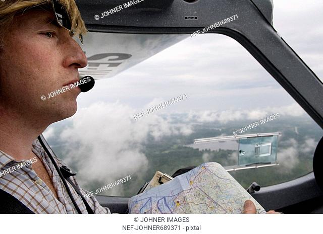 Pilot in an aeroplane, Sweden