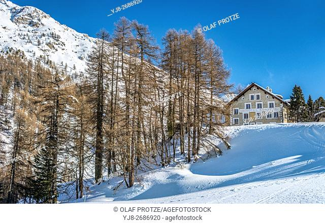 Hotel Sonne at the Fex Valley in Winter, Engadine, Grisons, Switzerland