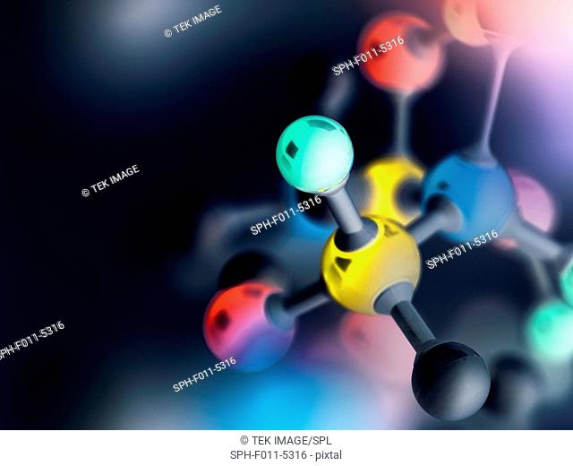 Ball and stick molecular model