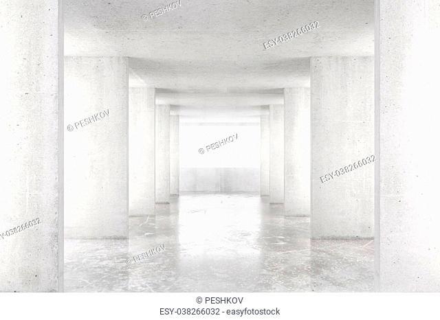 Empty room with concrete walls, concrete floor and big window, 3D render