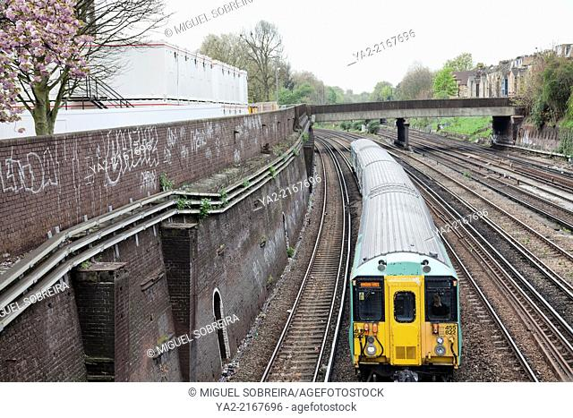 Southern Train on Clapham Junction Track - London SW11 - UK