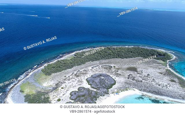 Aerial view of coral reef fringed Noronky in Los Roques Archipelago