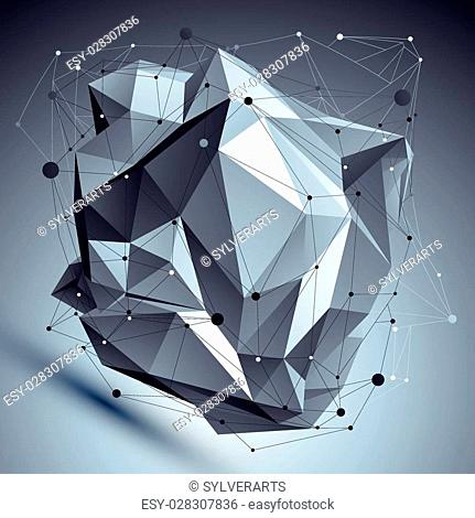 Abstract 3D asymmetric structure, polygonal vector network complicated pattern, design deformed figure placed over shaded background